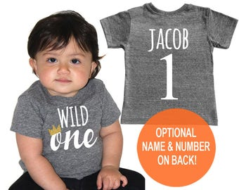 First 1st Birthday Wild One Tri Blend Baby First Birthday T-Shirt - Infant Boy and Girl Tee