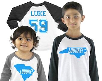 6085fd605 LUUUKE! Tri-blend Raglan Luke Kuechly Baseball Shirt - Football - Infant,  Toddler, Kid, Youth sizes