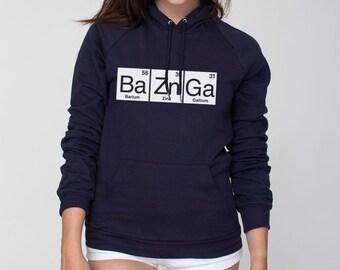 0757393b3 BaZnGa Periodic Table Bazinga American Apparel Pullover Hoodie - Unisex  Size XS S M L XL 2XL