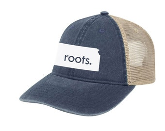 6c7f96cabec18 Kansas  Roots  Trucker Hat - Vintage Look Pigment Dyed Cotton Twill  Polyester Mesh Back 6 Panel Low Profile Trucker Dad Hat