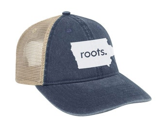 2336f8d5d1954 Iowa  Roots  Trucker Hat - Vintage Look Pigment Dyed Cotton Twill Polyester  Mesh Back 6 Panel Low Profile Trucker Dad Hat