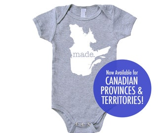 Canada Provinces and Territories 'Made' Cotton Baby One Piece Bodysuit - Infant Girl and Boy