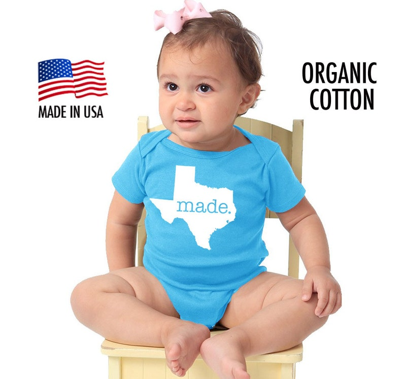 Texas /'Made/' Organic Cotton Infant One Piece \u2022 Made in the USA