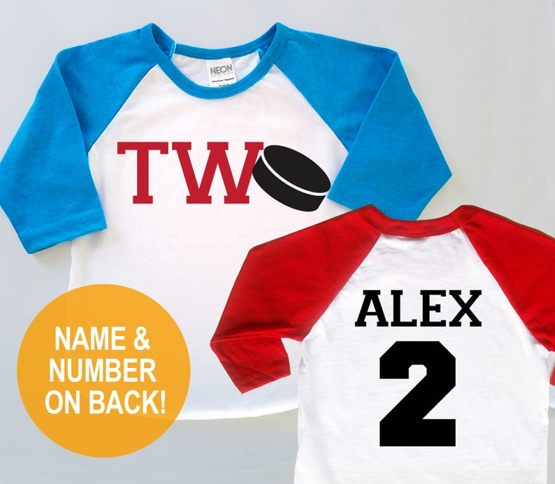quality design 49609 3fe04 Second 2nd Birthday Personalized 'TWO' Hockey Jersey - Baby Toddler Kids  Poly Cotton 3/4 Sleeve Four Baseball Shirt Twins Triplets