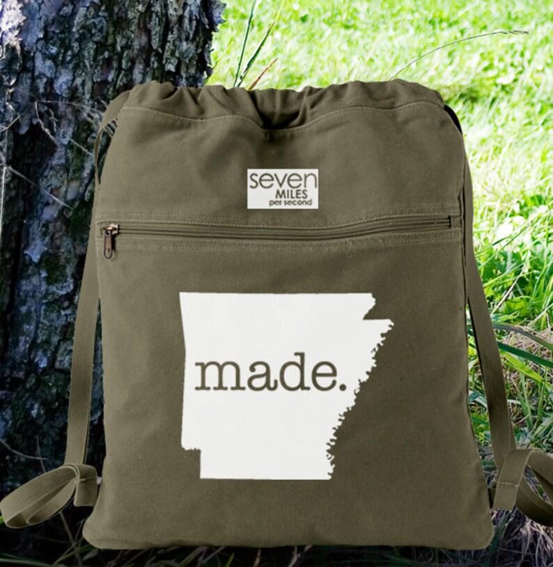 Arkansas AR Made Canvas Backpack Cinch Sack