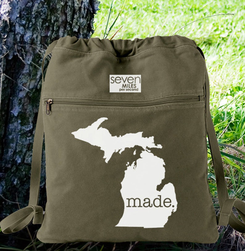 Canvas Backpack Cinch Sack Michigan Made