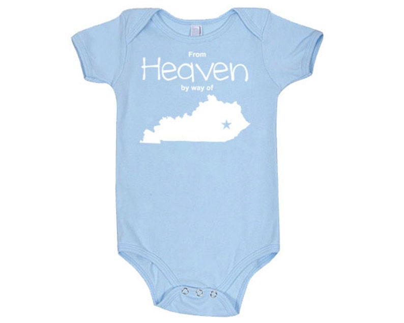 From Heaven By Way of Kentucky Customized Cotton Baby One Piece Bodysuit Infant Girl and Boy