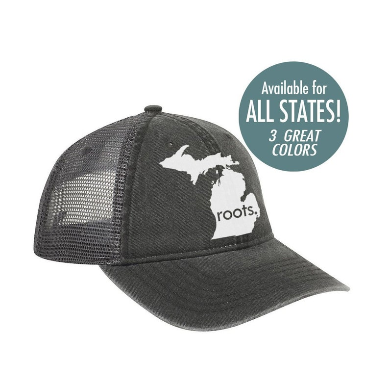 334753d5098311 All States 'Roots' Trucker Hat Vintage Look Pigment | Etsy