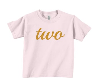 First 1st 2nd 3rd Birthday Gold Glitter Cotton Toddler and Kids Short Sleeve T-shirt - 1st, 2nd, 3rd, any birthday you choose!