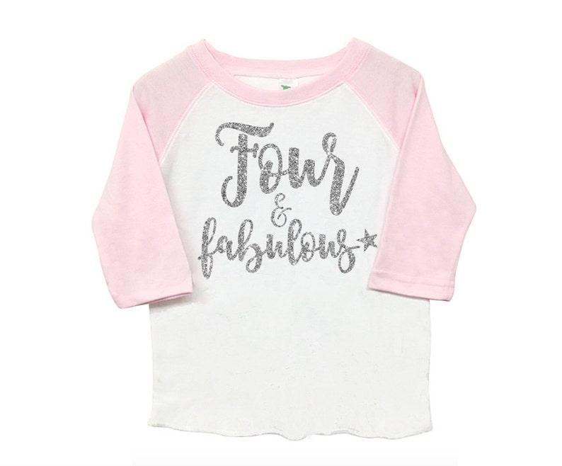 Kid/'s Toddler Shirt Fourth 4th Birthday /'Four /& Fabulous/' Poly Cotton 34 Raglan Light Pink Sleeve Baseball Shirt