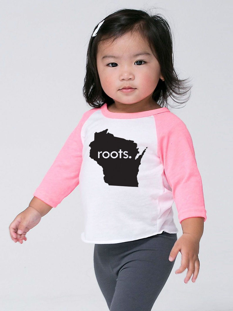 Baby Shirt Wisconsin /'Roots/' or /'Made/' Baby Toddler Kids Poly Cotton 34 Sleeve Baseball Shirt