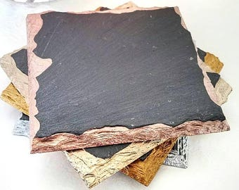 Metallic Edge Slate Coasters - Wine, Coffee, Birthday, Mother's Day, Metallic, Valentine's Day, Rose Gold, Gold, Champagne, Silver