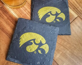 4 Iowa Hawkeye Slate Coasters - Officially Licensed - Tailgating, Craft Beer, Mancave, husband, boyfriend, brother, birthday