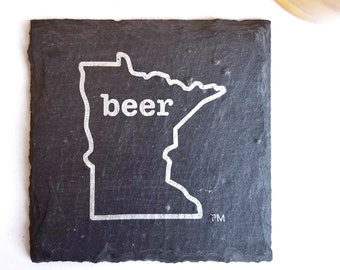 Minnesota Craft Beer Slate Coasters - Mancave, Garage, Fathers Day, Beer Lover, Mens Gift