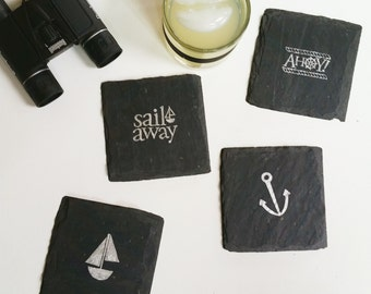 Nautical Slate Coasters - Graduation, Vacation, Traveler