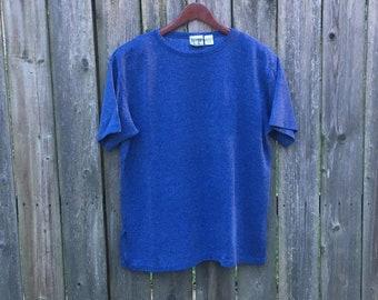 Vintage 90's Jacque & Koko Dark Blue Textured Short Sleeve Polyester/Cotton Blend Shirt Size 14/16