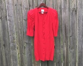 Vintage 1980 39 s Young Edwardian Red 3 4 Sleeve Scallop Trim Pleated Back Dress with Shoulder Pads Size 5