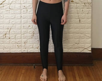 f365a0cdff6f17 Vintage Unbranded Black High Waist Nylon/Lycra Leggings with Stirrup Legs  (free shipping)