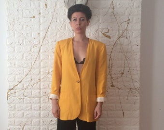 ac3e4b044da Vintage 80's Preferred Elements Button Up Long Sleeve Blazer Jacket with  Shoulder Pads (free shipping)