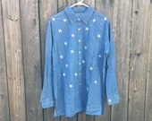 Vintage 90 39 s Unbranded Long Sleeve Denim Button Up Pocket Shirt with Embroidered Stars
