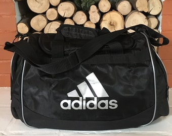 Vintage 90 s Adidas Logo Black Duffel Gym Bag with Shoulder Strap and  Carrying Handles (free shipping) ba7ea5a60ba6c