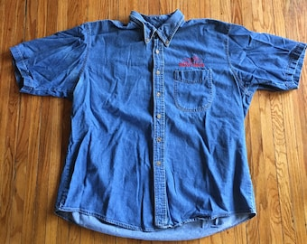 caa107d60e Vintage Three Rivers Oversize Easyriders Button Up Denim Short Sleeve  Collared Shirt (free shipping)