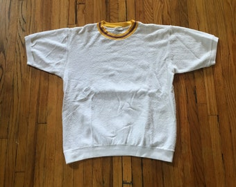5d343a90bf99e1 Vintage 1970's JCPenney White Terry Cloth With Yellow and Purple Collar  Short Sleeve Shirt