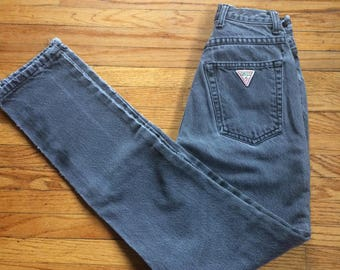 1ef2931998 Vintage Guess by Georges Marciano Distressed Worn In Black Denim Jeans