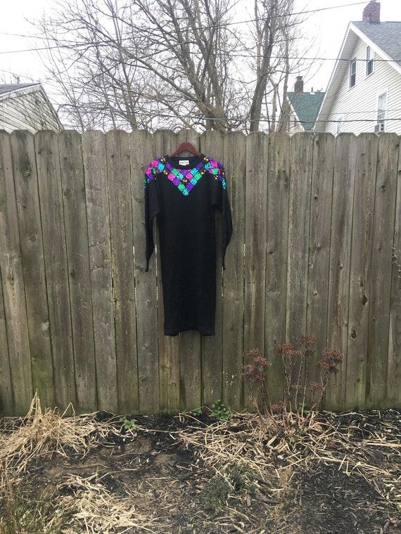 Vintage 80's Bonnie Evans Colorful Sequin Long Sle
