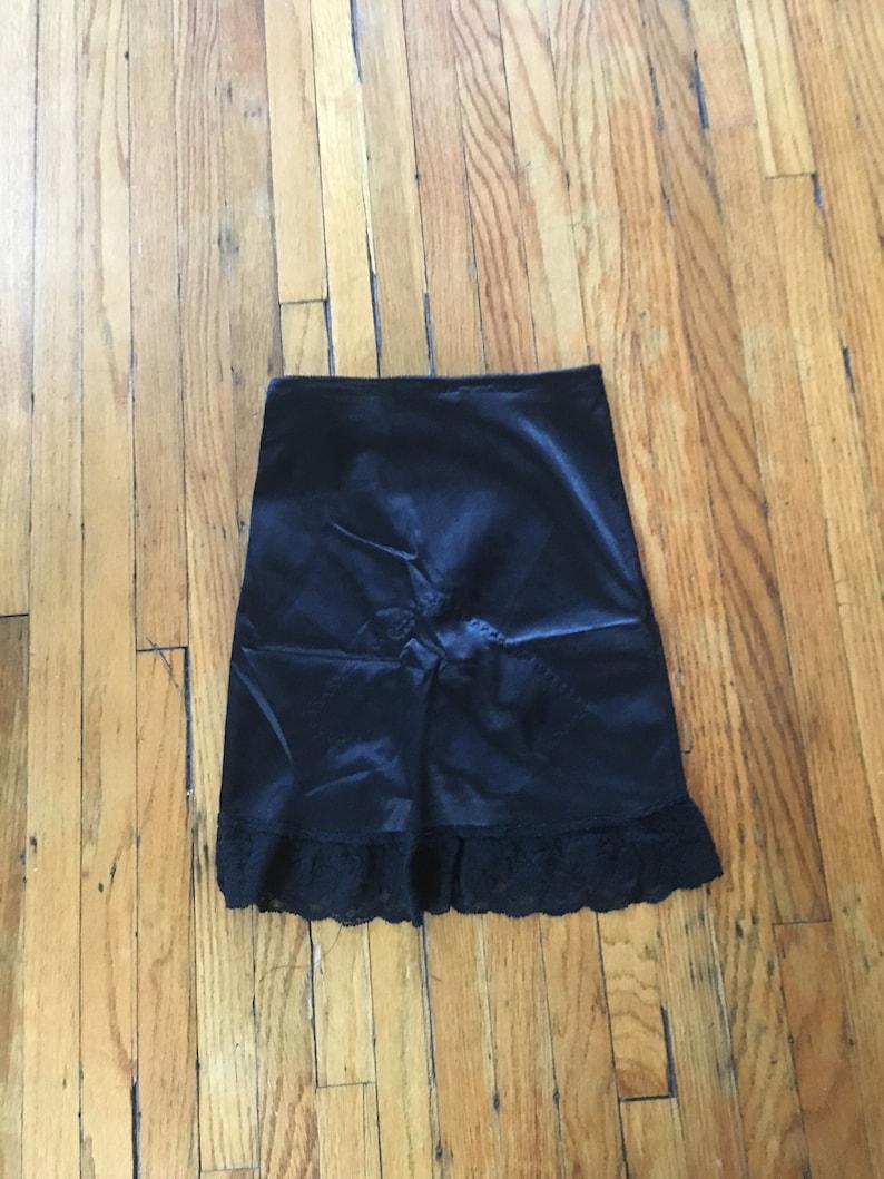 Vintage 90/'s Black Lace Trim High Waist Lingerie NylonSpandex Skort