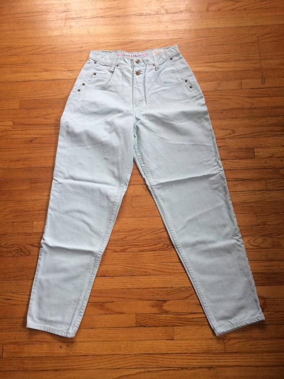 Vintage ZENA Jeans Mint Green High Waist Colored … - image 2