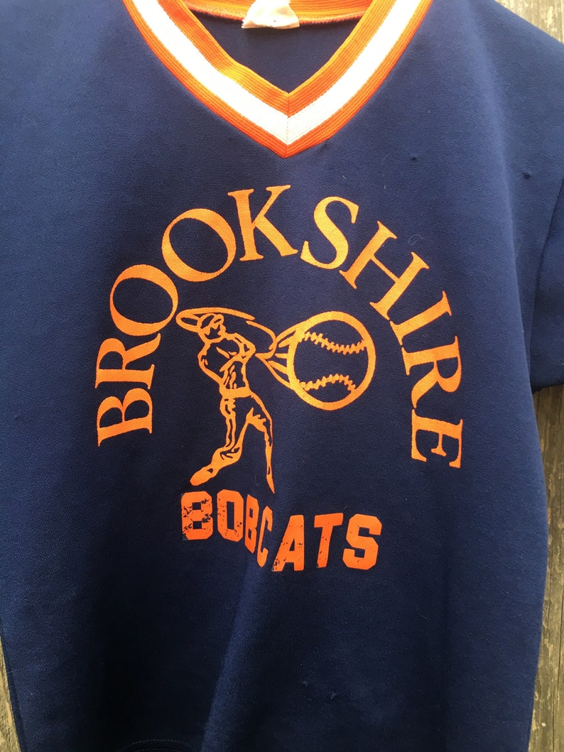 Vintage 80/'s Brookshire Bobcats Number 7 Blue and Orange Baseball Crop Top Jersey Top Women/'s Size Small