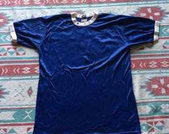 Vintage Mesh Blue Soccer Ringer Jersey