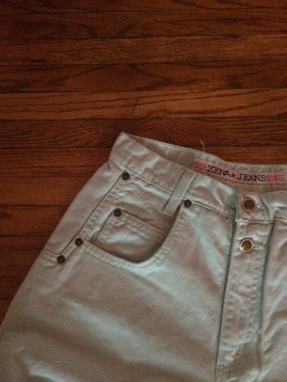 Vintage ZENA Jeans Mint Green High Waist Colored … - image 3