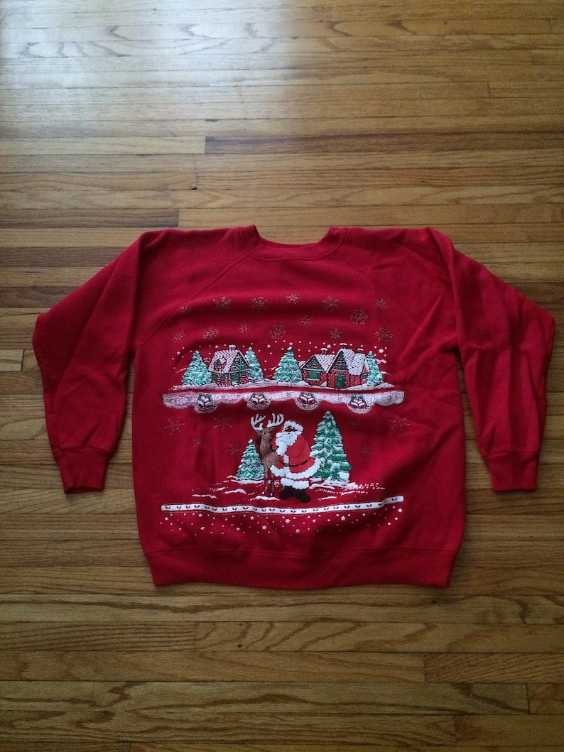 eb63f177fd149 Vintage Christmas Santa Claus Little Village Winter Sweatshirt (90's)