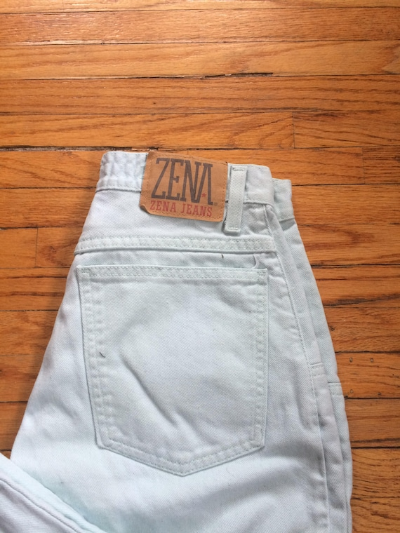 Vintage ZENA Jeans Mint Green High Waist Colored … - image 7