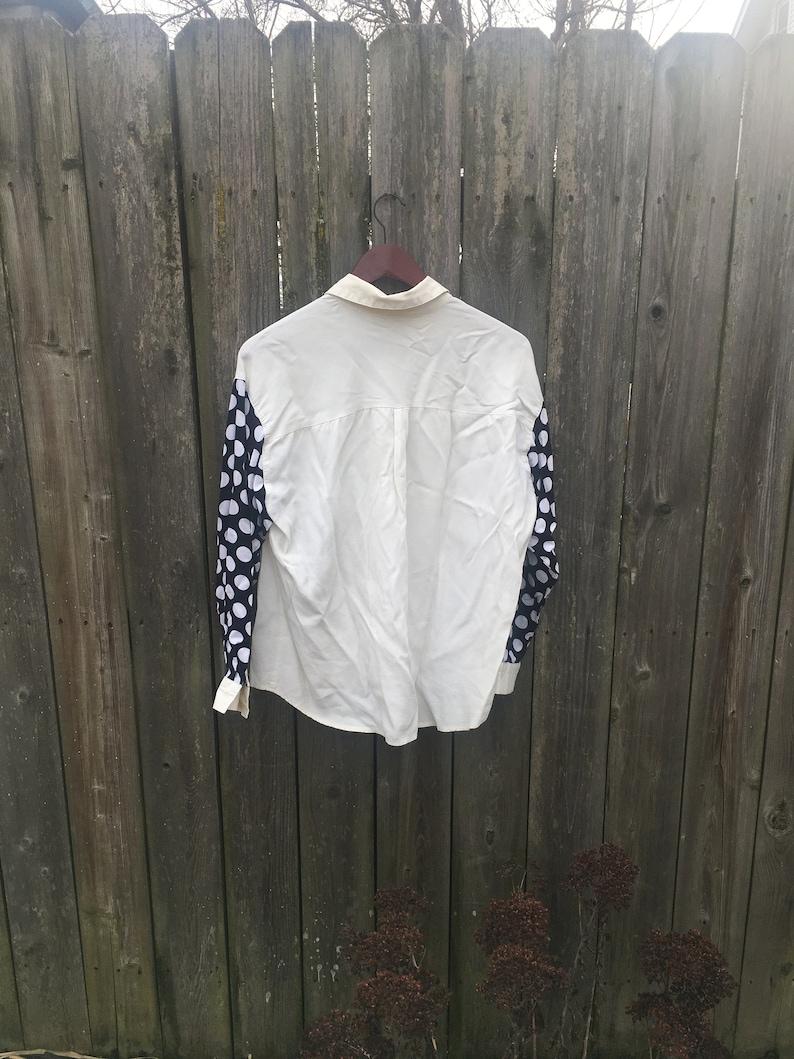 Vintage 80/'s Sassan USA Black and White Polka Dot Long Sleeve Button Up Collared Shirt