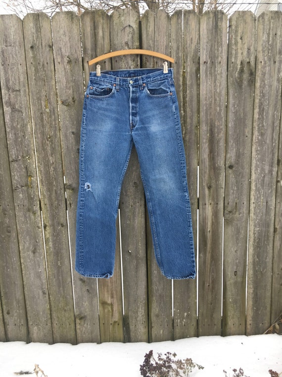 Vintage 90's Levi's 501 Button Fly Distressed Hig… - image 1