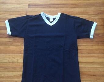 Vintage Unbranded Navy Blue Mesh Soccer Jersey Ringer Shirt (80's)