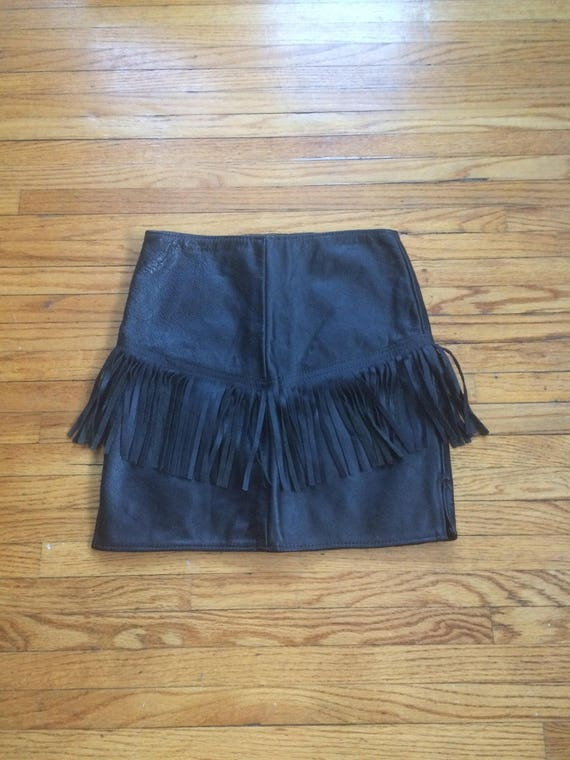 Vintage Unbranded Black Leather Fringed Mini Skirt by Etsy