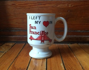 Vintage I Left My Heart in San Francisco Golden Gate Bridge Coffee Mug