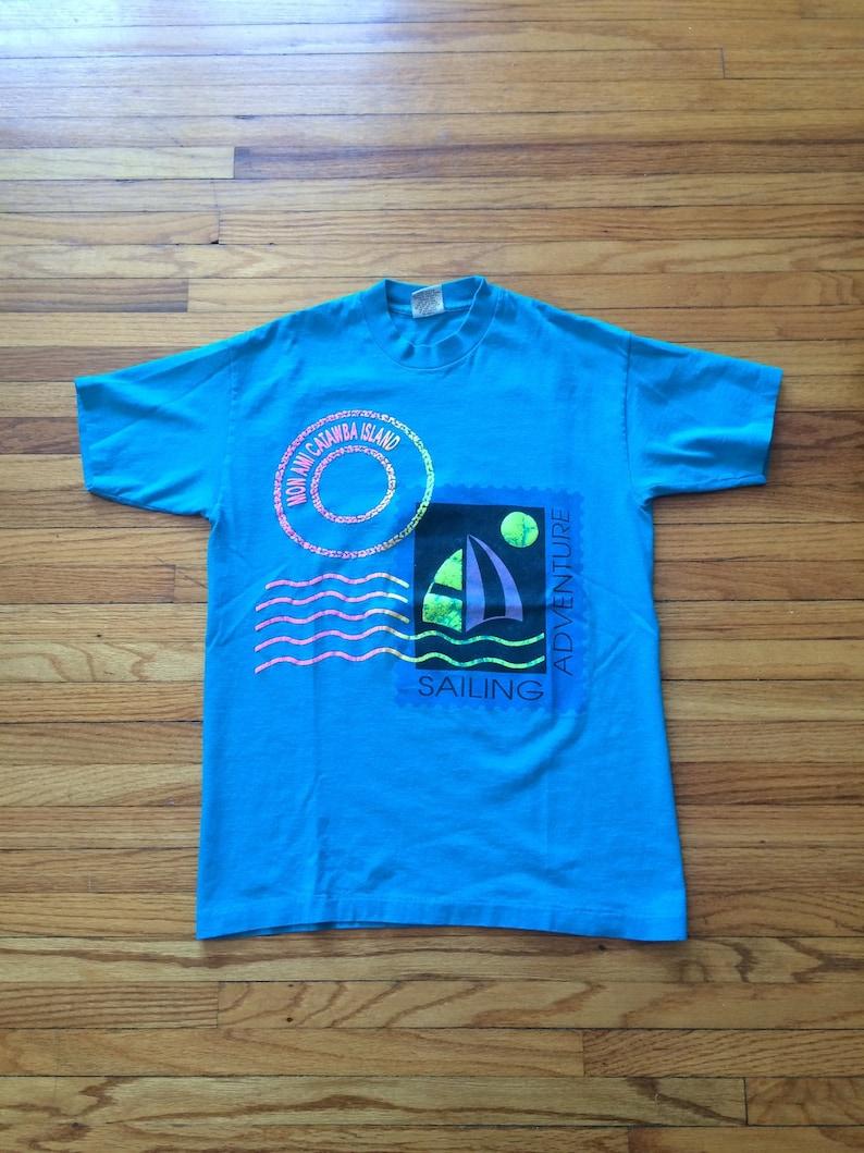 cdb4e15267fdc Vintage Mon Ami Catawba Island Sailing Adventure Bright Neon Colored Print  T-Shirt (90's)