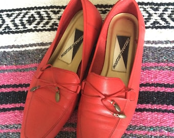 Vintage Mootsies Tootsies Red Slip On Shoes