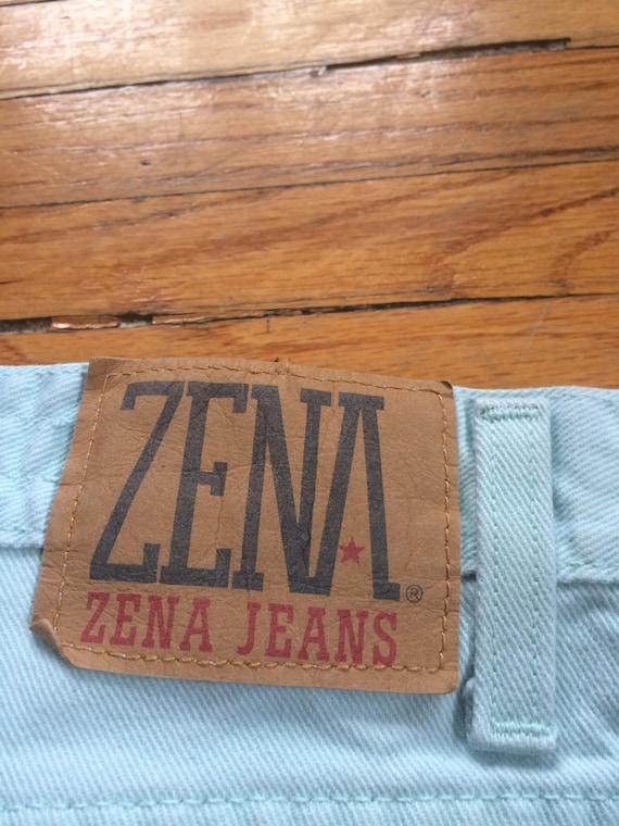 Vintage ZENA Jeans Mint Green High Waist Colored … - image 8