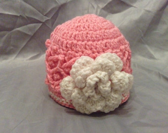 Child Cable Flower Fashion Beanie