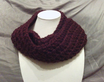 Crochet Burgundy Adult Cowl Neckwarmer
