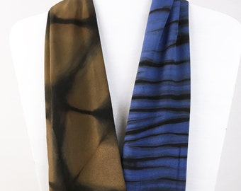 Artist-Made Shibori Scarf, Hand Dyed in Blue, Brown Infinity Silk Scarf