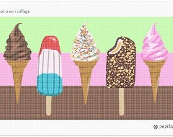 Needlepoint Kit or Canvas: Ice Cream Collage