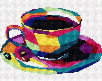 Needlepoint Kit or Canvas: Coffee Cup In Shapes