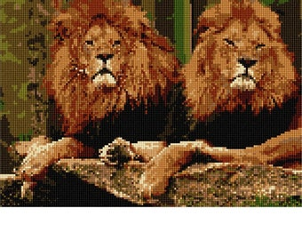 Needlepoint Kit or Canvas: Pair Of Lions